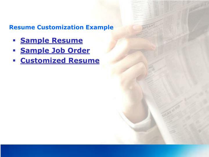 Resume Customization Example
