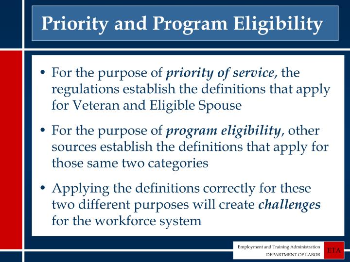 Priority and Program Eligibility