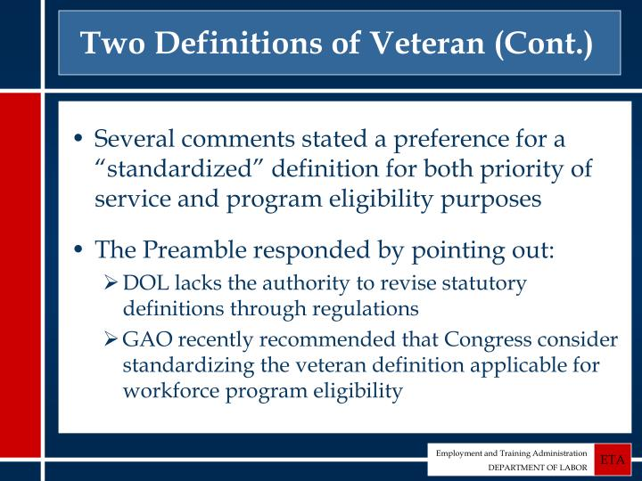 Two Definitions of Veteran (Cont.)