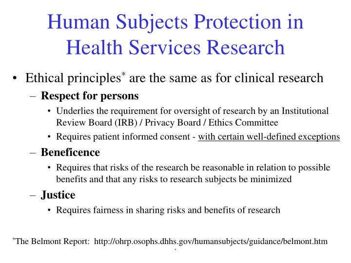Human Subjects Protection in Health Services Research