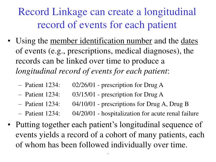 Record Linkage can create a longitudinal record of events for each patient