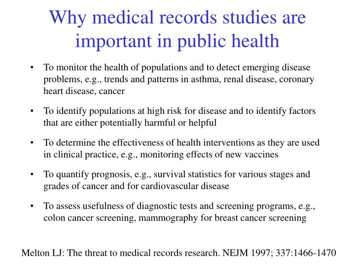 Why medical records studies are important in public health