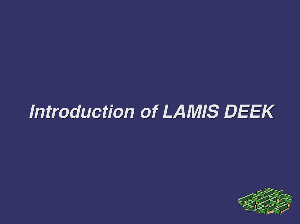 introduction of lamis deek l.