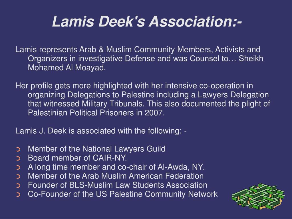 Lamis Deek's Association:-