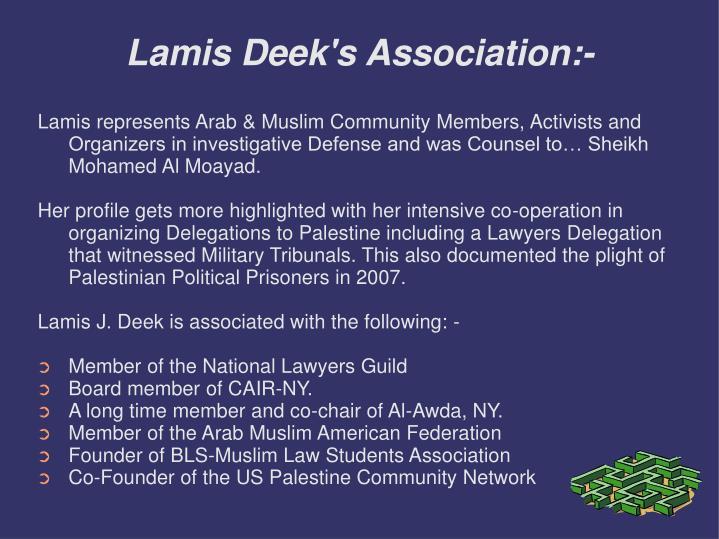 Lamis deek s association