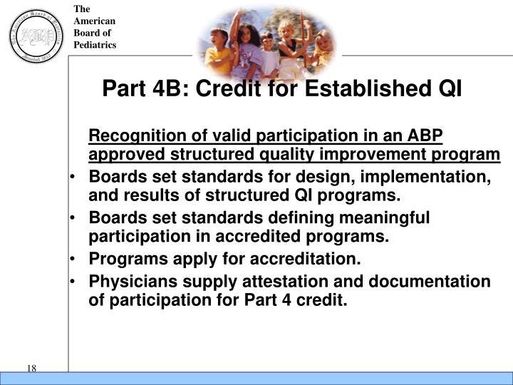 Part 4B: Credit for Established QI