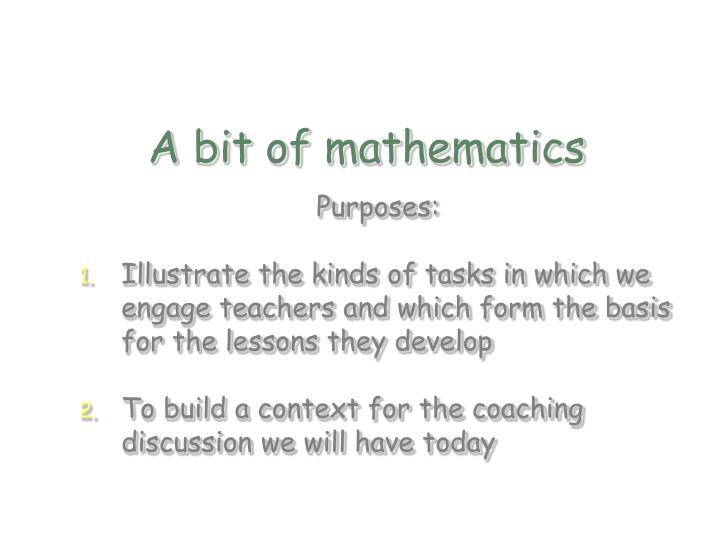 A bit of mathematics