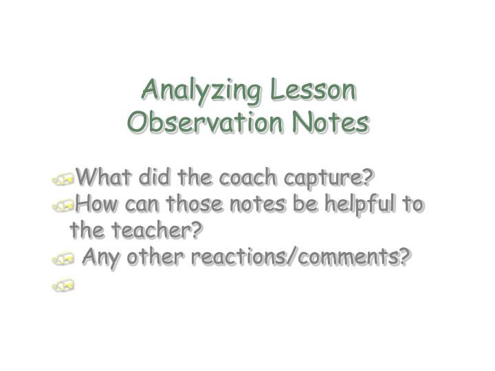 Analyzing Lesson