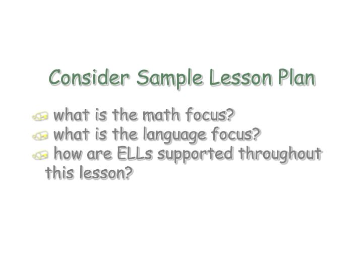 Consider Sample Lesson Plan