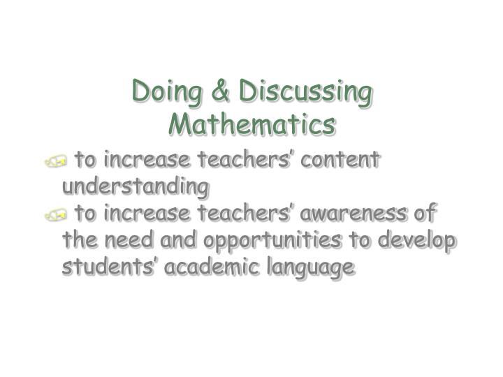 Doing & Discussing Mathematics