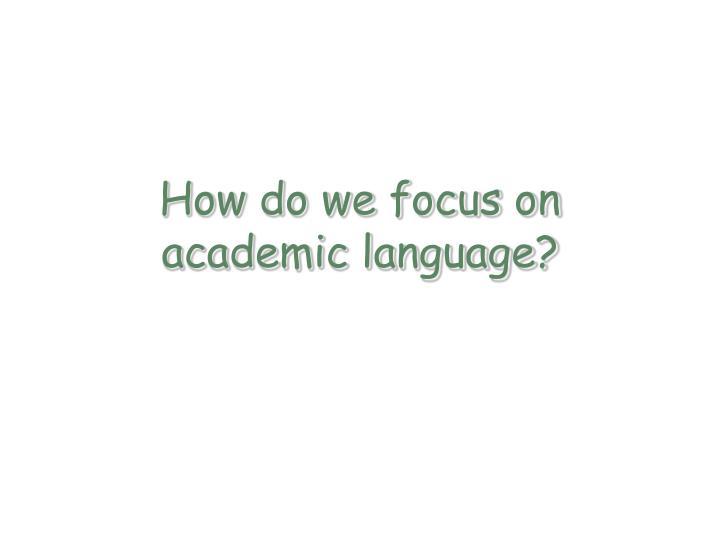 How do we focus on academic language?