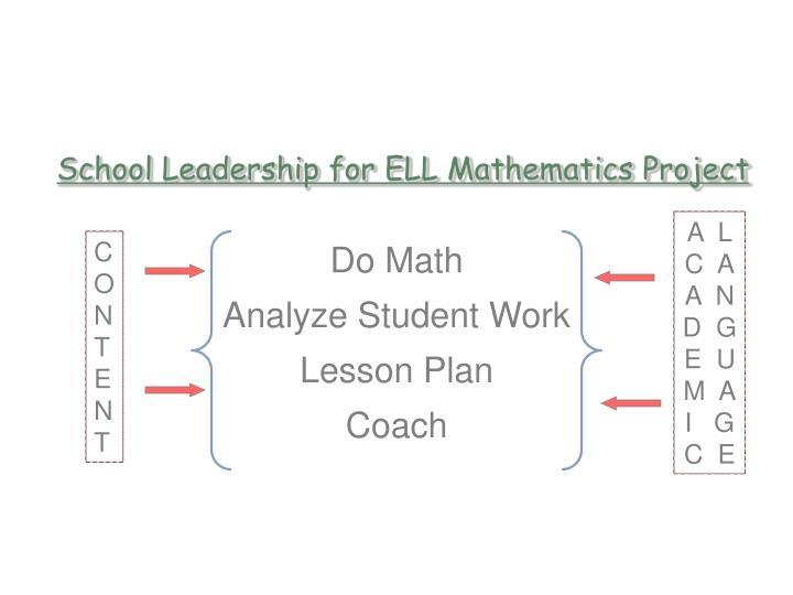 School Leadership for ELL Mathematics Project