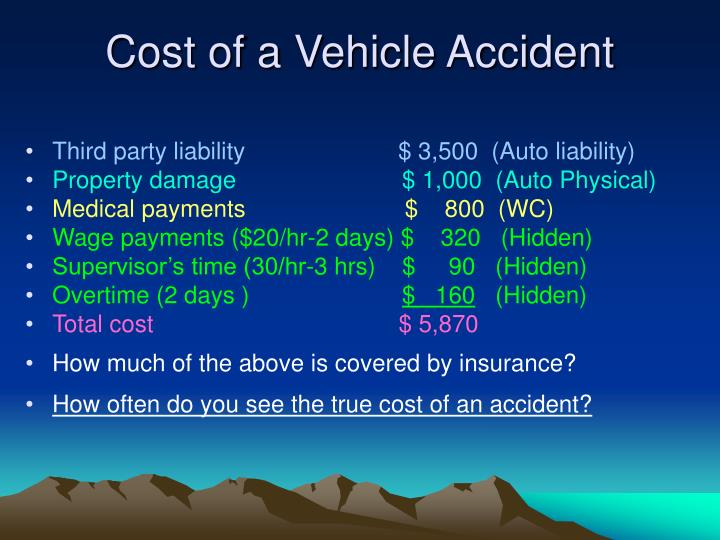 Cost of a Vehicle Accident
