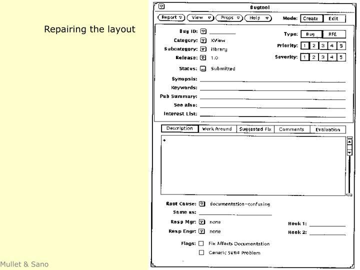 Repairing the layout