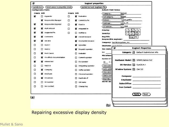 Repairing excessive display density