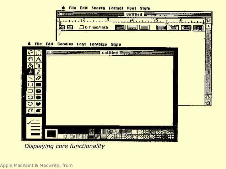 Displaying core functionality