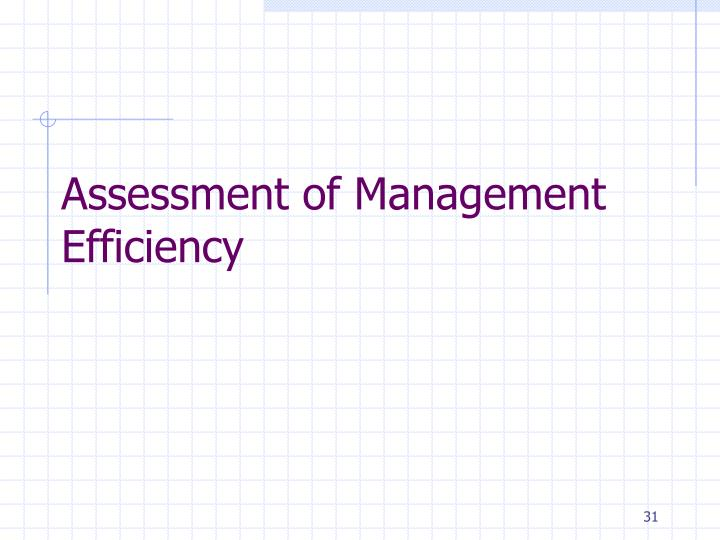 Assessment of Management Efficiency