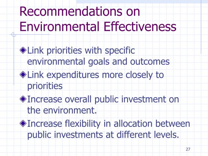 Recommendations on Environmental Effectiveness