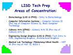 lisd tech prep areas of concentration
