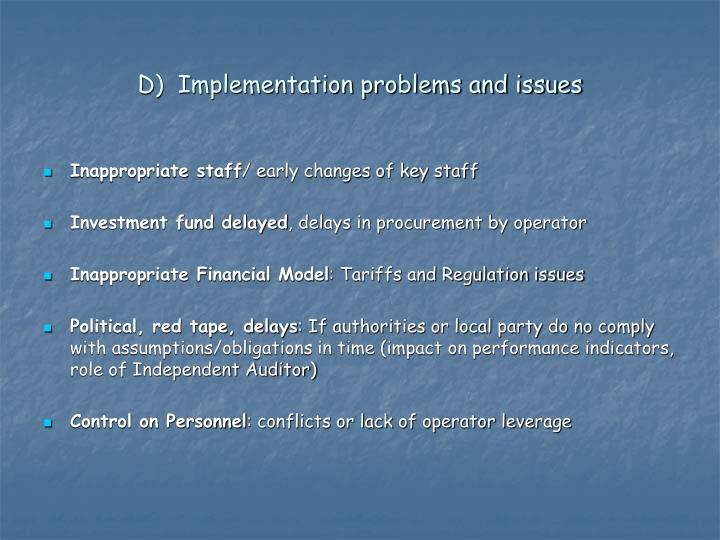 D)  Implementation problems and issues