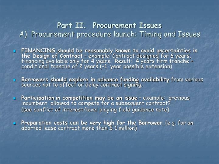 Part II.  Procurement Issues