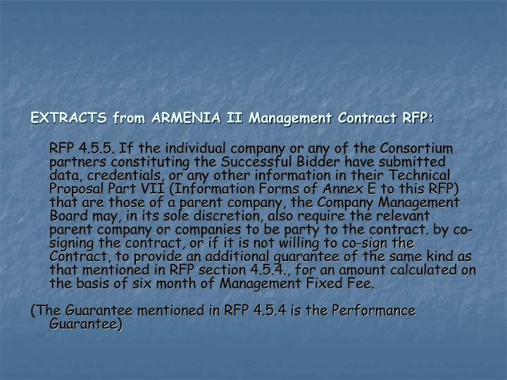 EXTRACTS from ARMENIA II Management Contract RFP: