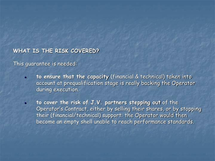 WHAT IS THE RISK COVERED?
