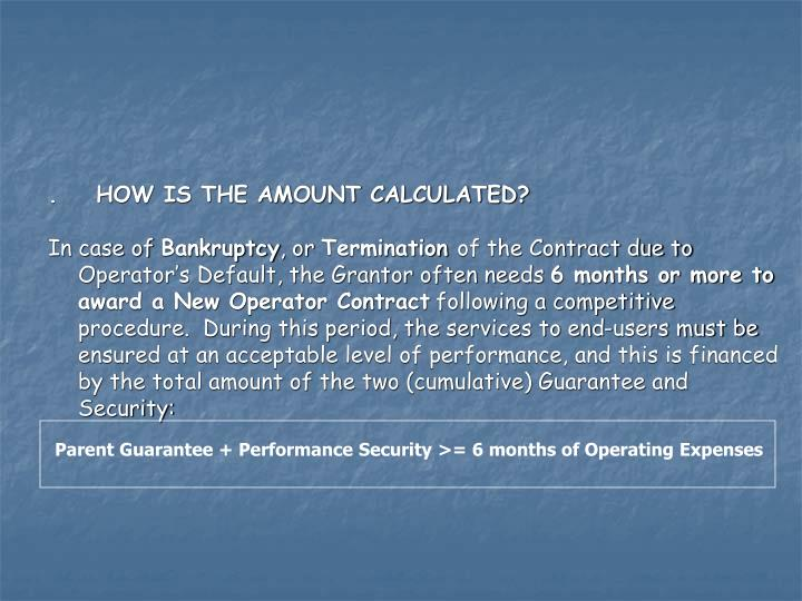 .    HOW IS THE AMOUNT CALCULATED?