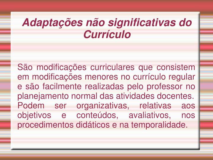 São modificações curriculares que consistem em modificações menores no currículo regular e são facilmente realizadas pelo professor no planejamento normal das atividades docentes.
