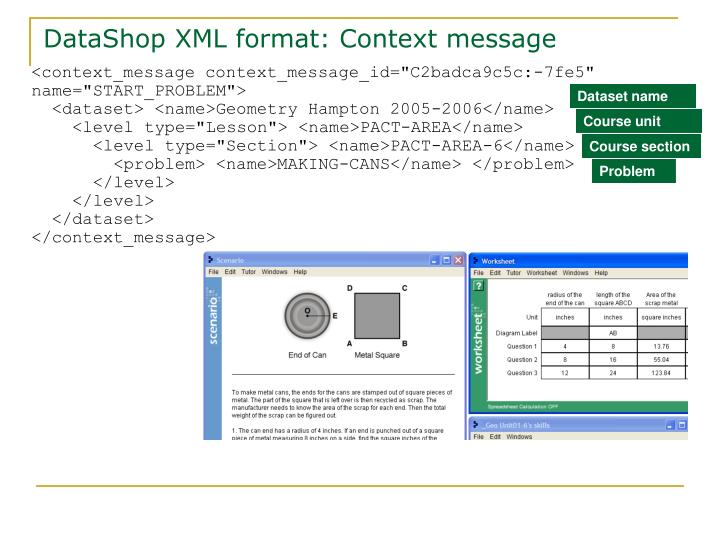 DataShop XML format: Context message