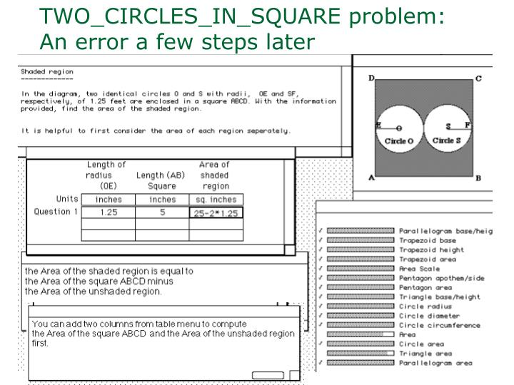 TWO_CIRCLES_IN_SQUARE problem: An error a few steps later