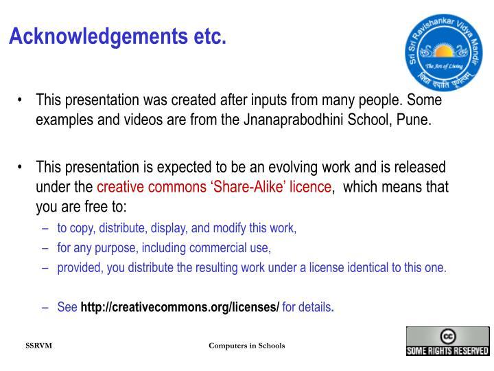 Acknowledgements etc.