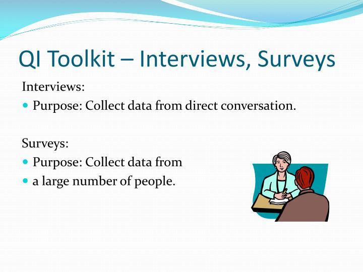 QI Toolkit – Interviews, Surveys