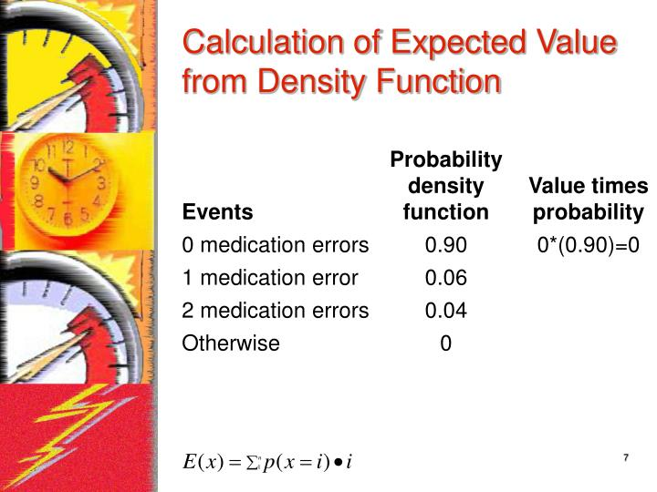 Calculation of Expected Value from Density Function