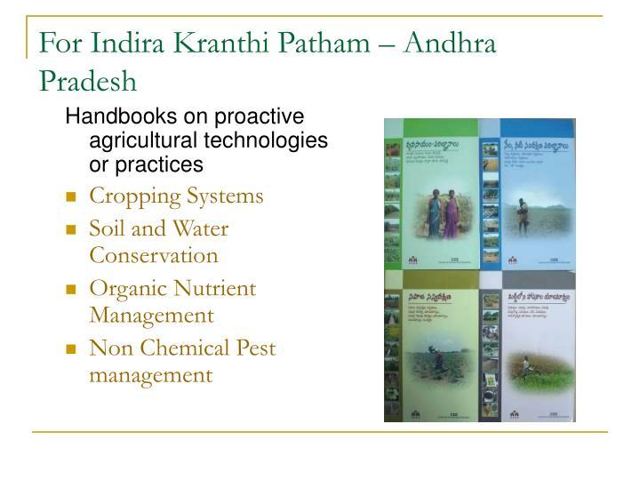 For Indira Kranthi Patham – Andhra Pradesh