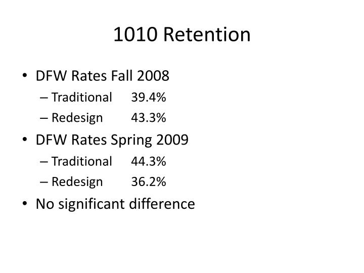 1010 Retention