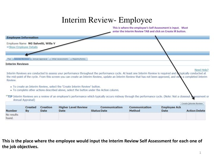 Interim review employee