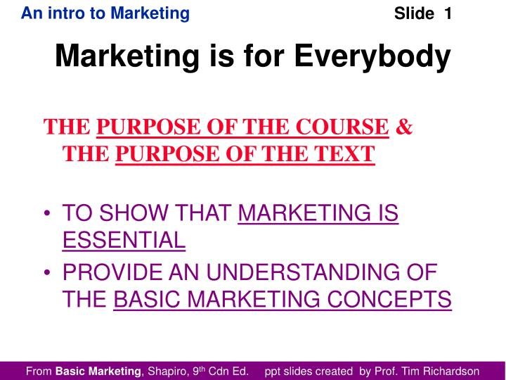 marketing is for everybody n.