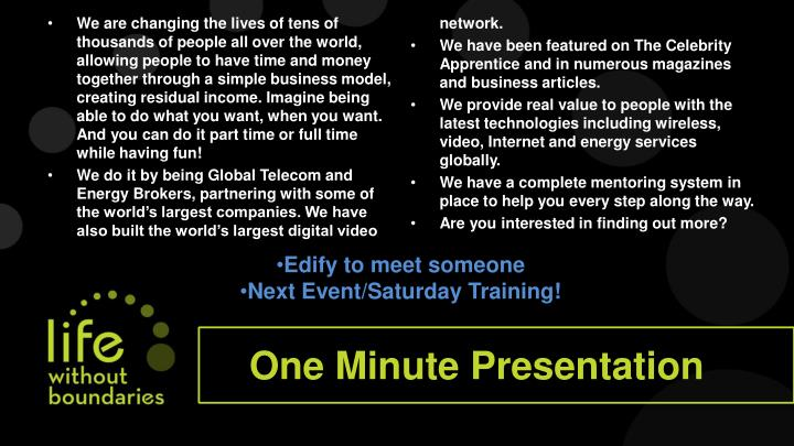 One minute presentation