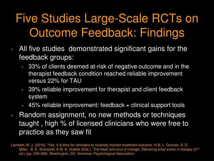 Five Studies Large-Scale RCTs on Outcome Feedback: Findings