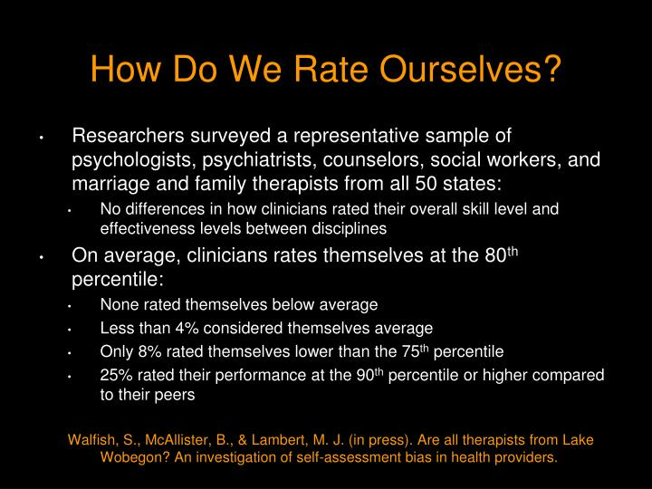 How Do We Rate Ourselves?