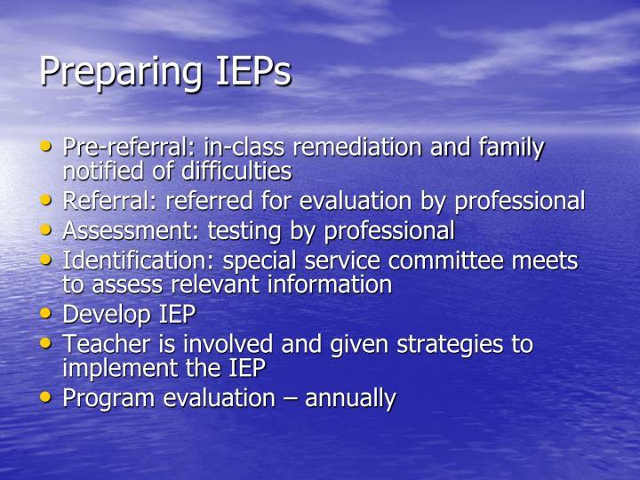 Preparing IEPs