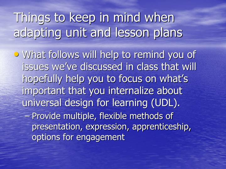 Things to keep in mind when adapting unit and lesson plans
