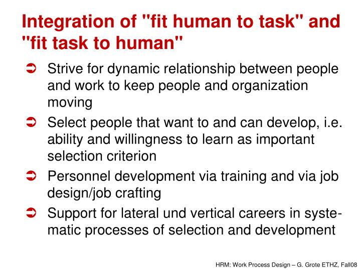 "Integration of ""fit human to task"" and ""fit task to human"""