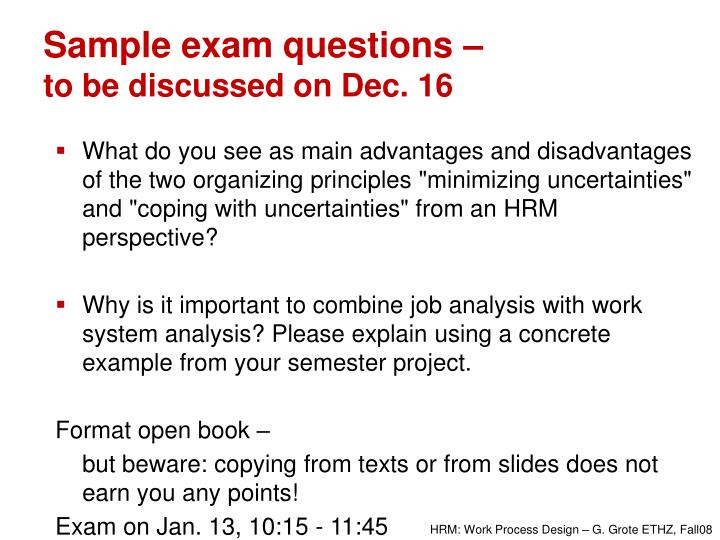 Sample exam questions –
