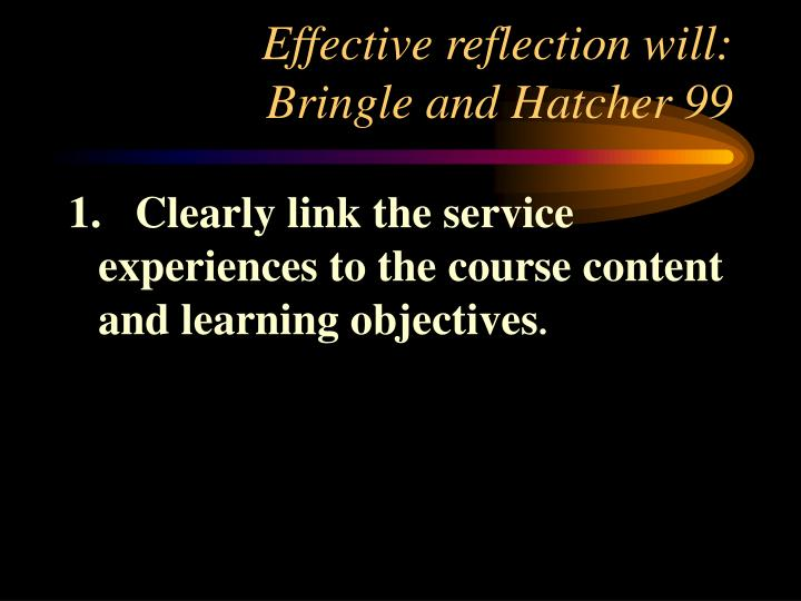 Effective reflection will: