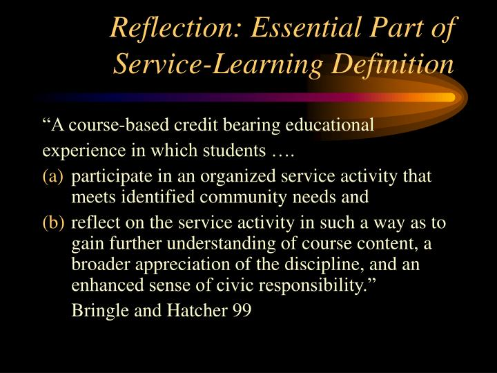 Reflection: Essential Part of Service-Learning Definition