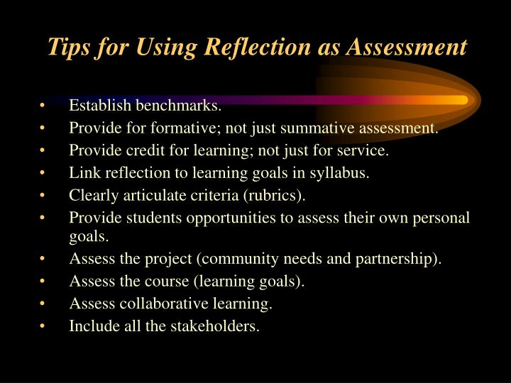 Tips for Using Reflection as Assessment