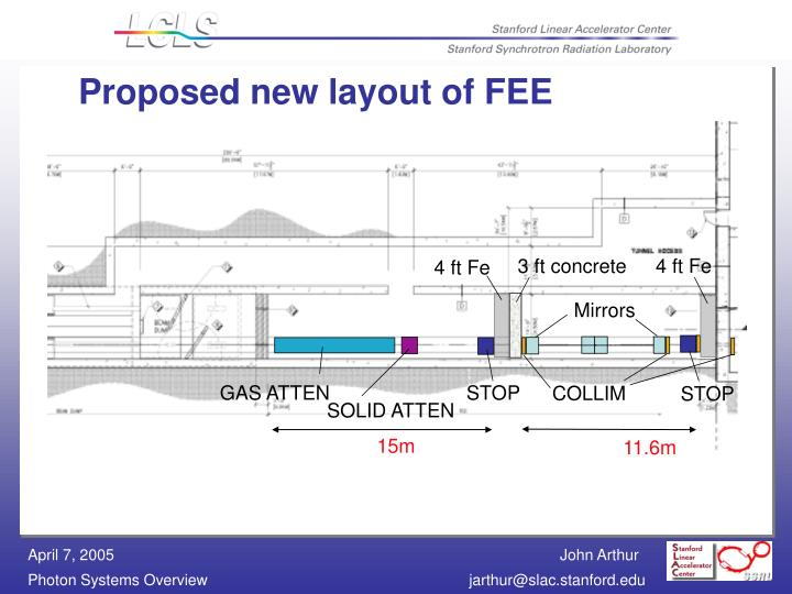 Proposed new layout of FEE