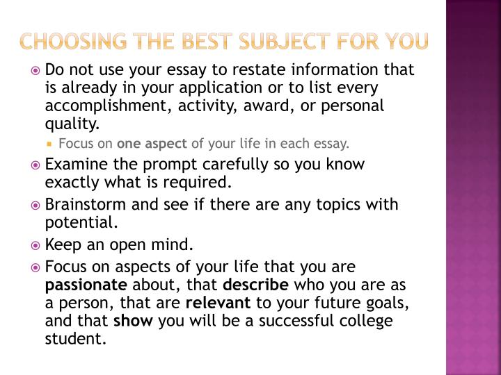 Choosing the best subject for you
